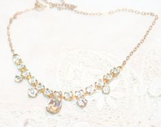 Antique Brass and Rhinestone Necklace Choker by AntiqueAlchemyShop, $25.00