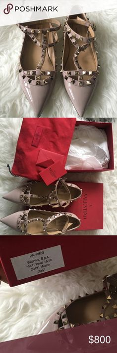 Nude Valentino Rockstud Flats New condition. Worn only once. Made in Italy. Comes with all original packaging and everything shown in photos. 100% Authentic Valentino Garavani Shoes Flats & Loafers