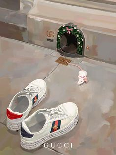 Beautifying everyday places, including a welcoming Gucci mouse house, part of the Gucci Gift campaign by artist Ignasi Monreal. Pictured here, new platform Gucci Ace sneakers with crystal trims from Gucci Cruise 2018 by Alessandro Michele