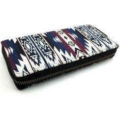 Southwestern Long wallet ($15) ❤ liked on Polyvore featuring bags, wallets, long bags, aztec bag, canvas bag, white bag and canvas wallet