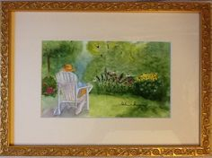 "Watercolor. ""I come to the garden alone...."". Private collection. Watercolorbyhelen@gmail.com"