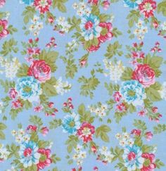 Tanya Whelan Fabric / DELILAH in BLUE /  1 Yard Quilt by mimis, $8.99