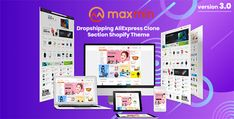 MAXMIN - Dropshipping AliExpress Clone Shopify Theme Page Design, Web Design, Design Styles, Best Shopify Themes, All Themes, Theme Ideas, Social Share Buttons, Cosmetic Shop, Men Store