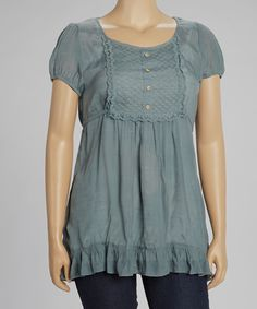 Take a look at this Mine Too Gray Peasant Top - Plus on zulily today!