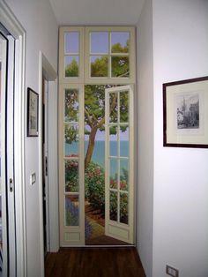 Trompe l' oeil dipinto a mano su tela cm. 90x265