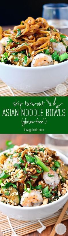 Asian Noodle Bowls are quick, tasty and will satisfy your craving for takeout in 30 minutes or less! #glutenfree | http://iowagirleats.com