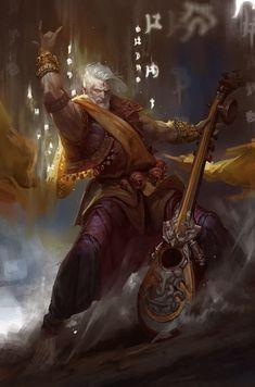 "m Bard Robes hilvl Guitar Planes Traveler ""metal bard rpg"" High Fantasy, Fantasy Rpg, Medieval Fantasy, Fantasy Artwork, Dungeons And Dragons Characters, D D Characters, Fantasy Characters, Fantasy Character Design, Character Concept"