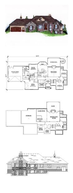 COOL House Plan ID: chp-44969 | Total Living Area: 2113 sq. ft., 5 bedrooms and 3.5 bathrooms. #finishedbasement