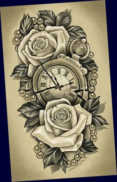 Clock Tattoo Design, Tattoo Design Drawings, Floral Tattoo Design, Flower Tattoo Designs, Tattoo Sketches, Half Sleeve Tattoos Sketches, Tattoos For Women Half Sleeve, Best Sleeve Tattoos, Tattoo Sleeve Designs