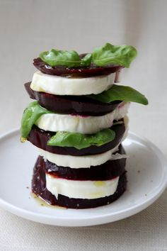 Beet and mozzarella salad---or goat cheese instead.  Beautiful presentation!