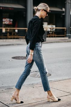 Blonde Woman Wearing Madewell Black Eyelet Blouse Levis Denim Ripped Skinny Jeans Chanel Slingbacks Fashion Jackson Dallas Blogger Fashion Blogger Street Style