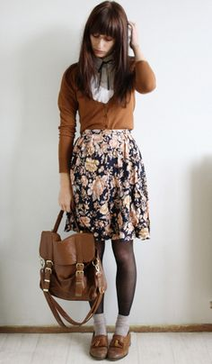 Peachy floral print on black. Cheeky knee length, tights, socks, loafers. Eccentric but not too over-the-top.