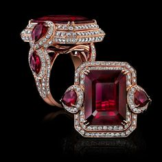 PARISIAN ROSE GOLD RUBELLITE AND WHITE DIAMONDS RING - Influences of opulence and grandeur are captured in this combination of linear and round-cut gems creating the contemporized feel of an elegant era. A unique triple tier of precision set brilliant Diamonds surround an emerald-cut Rubellite, grandly flanked by draping pear- cut stones of vibrant red for a stunning adornment. ROBERT PROCOP - EXCEPTIONAL JEWELS .