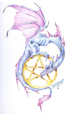 Would love to get this tattooed.      SciFi and Fantasy Art dragon tattoo design by Jennifer Rose Phillip