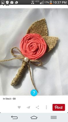 Literally, you can never find a cheap wedding dress anywhere in the world. Cute Wedding Ideas, Diy Wedding, Rustic Wedding, Dream Wedding, Coral Boutonniere, Rustic Boutonniere, Boutonnieres, Burlap Flowers, Fabric Flowers
