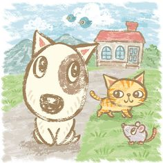 Bull Terrier & Friends. Illustration by Toru Sanogawa.