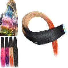 3.44$  Watch here - http://di7zc.justgood.pw/go.php?t=181161901 - Stylish Three Color Gradient Traceless Straight Human Hair Extension For Women 3.44$
