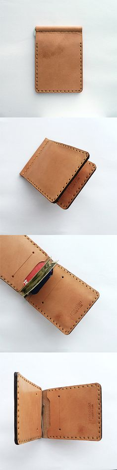 The good thing about having wallets in vegetable tanned leather is it can age and change color, based on usage and evolve with you and your lifestyle.  As vegetable tan leather is exposed through every day use to sun light, oils from your hands or the ones in leather conditioner and water, it will begin to change color and eventually develop a beautiful personalized patina. #wallet handmade money clip and card holder.