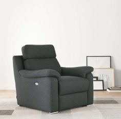 Butaca con asiento reclinable en negro Recliner, Armchair, New Homes, Lounge, Interior Design, Furniture, Home Decor, Houses, Black