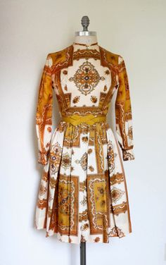 Fabulous Vintage Paisley 1960s Dress w/ Mustard Bow by dingaling, $48.00