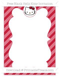 Hello kitty birthday invitations printable free invitation free cardinal red diagonal striped blank hello kitty invitation stopboris Images