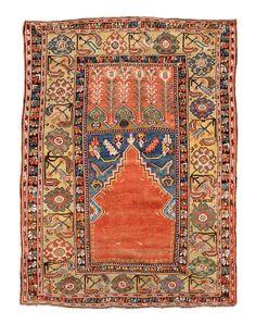 19th century Konya prayer rug 135×100 cm. Estimate 1,800-2,200 EUR