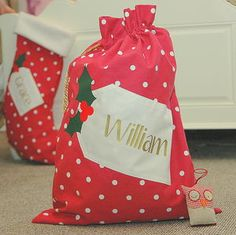 Personalised Spotty Christmas Santa Sack - view all decorations