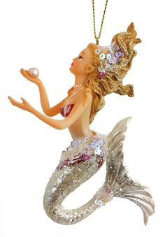 """Check out """"Pretty Mermaid with White Tail Ornament"""" by Katherine's Collection at Traditions! Traditions is a year-round family owned holiday store that's been in business for over twenty years ~ Beach Christmas Ornaments, Coastal Christmas Decor, Nautical Christmas, Christmas Tree Themes, Coastal Decor, Christmas Cards, Fantasy Mermaids, Mermaids And Mermen, Mermaid Tale"""