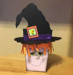 Witch popcorn box thinlit by Teri French - This is my cute little creation that I adore. It took me a great deal of time to figure out the hat/hair situation but I am absolutely tickled with her. This one is very labor intensive but she makes me smile. Dulceros Halloween, Halloween Treat Boxes, Adornos Halloween, Holidays Halloween, Halloween Decorations, Stampin Up, Treat Holder, Fall Cards, Favorite Holiday