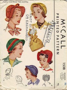1950s McCall Sewing Pattern Ladies Hats by AdeleBeeAnnPatterns, $25.00