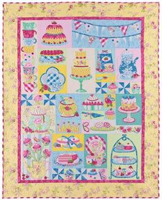 This quilt is just beautiful. Filled with whimsical tea themed images. This quilt is perfect for little and big girls who love dressing up a...