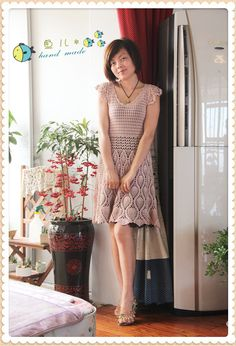 Crochet dress ♥LCD♥ with diagrams. I love the shoes!!!