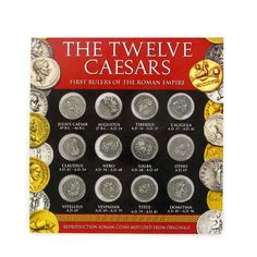 Twelve Roman denarii (silver coins) depicting the emperors of ancient Rome.