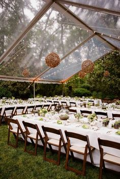 Choosing a clear tent for an outdoor wedding gives the impression of dining and dancing in a greenhouse. It is stunning during the day with its glass effect but even more beautiful at night- with the lights gleaming right through the tent. by jeannette Chic Wedding, Rustic Wedding, Dream Wedding, Wedding Day, Trendy Wedding, Wedding Table, Wedding Events, 2017 Wedding, Casual Wedding Receptions
