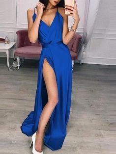 Robe Longue Drapée Bleu Saphir de Soirée Paille Achat