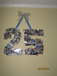 "A collage of pictures in the shape of the number ""25"" for my parents 25th Wedding Anniversary party."