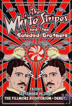 Original concert poster for White Stripes at the Fillmore, Denver, Colorado. 13x19 on card stock. Art by Dennis Loren