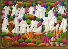 HAITIAN ART - Haitian Market Women Scene in White  Original Canvas Painting -   Art of Haiti - by TropicAccents, $89.95