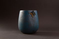Blue Textured Wooden Art Vessel with Highlighted Natural Flaw #timber #wooden #unique #handmade #art