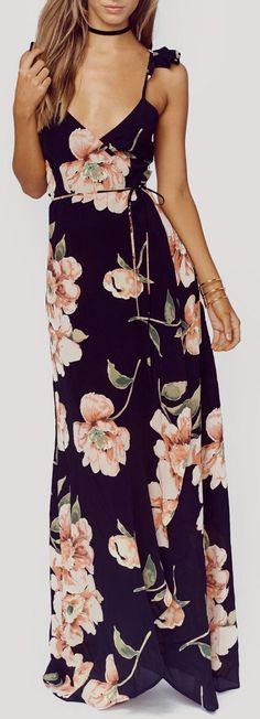 This floral full length dress is giving us the romantic and vintage feels. A…