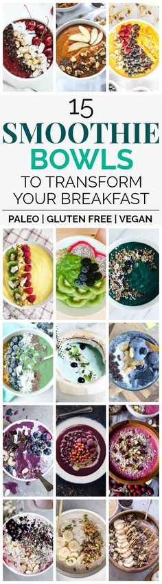 Transform Your Breakfast with 15 Delicious Smoothie Bowl Recipes | These healthy smoothie bowl recipes look AMAZING! I can't wait to try these paleo, gluten-free, and vegan smoothie bowls! Such a perfect healthy breakfast or snack idea! Add to your list of meal prep ideas. Have a different smoothie every day for a healthy breakfast. Pin now to make during food prep for the week.
