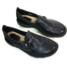Earth Origins Ellen Womens 10 W Black Leather Slip On Loafer Flats
