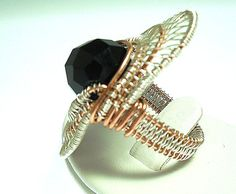 chunky wire wrapped beaded silver/ copper ring by 2wired on Etsy