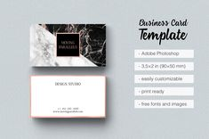 Rose Gold Marble Business Card - Business Cards