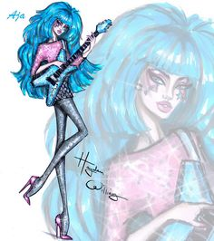 Williams Fashion Illustrations: Jem Anniversary by Hayden Williams: Aja Leith Hayden Williams, Fashion Illustration Hair, Illustration Mode, Fashion Illustrations, Cartoon Styles, Cartoon Art, Princesas Disney Zombie, Jem And The Holograms, Different Art Styles