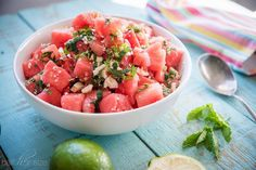 Watermelon Salad with Feta and Jalapeños Recipe Salads with seedless watermelon, mint, seeds, feta cheese, juice, kosher salt, black pepper
