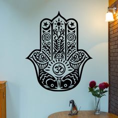 Om Hamsa hand of Mary wallDecal  Indian Buddha omm Yoga decal Fatima Mandala Ganesh Lotus Hinduism Art Blessings Power Strength evil eye 08 by foreverstudio on Etsy https://www.etsy.com/listing/203779575/om-hamsa-hand-of-mary-walldecal-indian