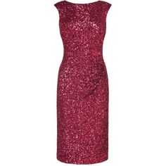L.K. Bennett Quinn Sequin Dress ($330) ❤ liked on Polyvore featuring dresses, round neck dress, red dress, sequin dress, red cocktail dress and l k bennett dresses