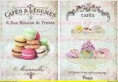 Bügelbilder - DIN A4 Vintage Bügelbild Cupcake kakao french - ein Designerstück von Doreens-Bastelstube bei DaWanda
