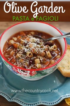 Crock Pot Olive Garden Pasta e Fagioli soup is even better than the one you get at Olive Garden. Hearty, flavorful and a family favorite!